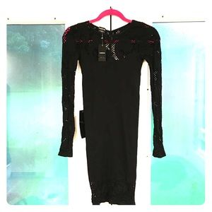 NWT Bebe Cilicia fitted black dress